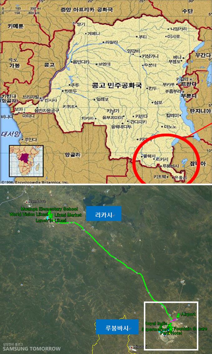 콩고 민주공화국 지도와 위성지도에 표시된 리카시와 루붐바시