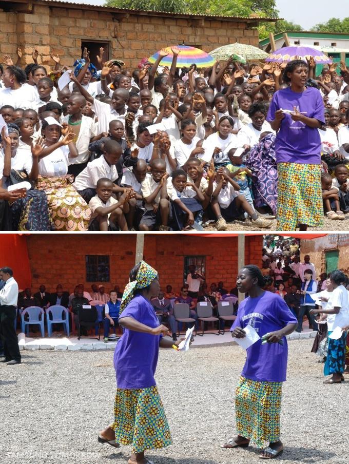 콩고아이들이 모인 모습과 춤판을 벌여 즐기는 모습