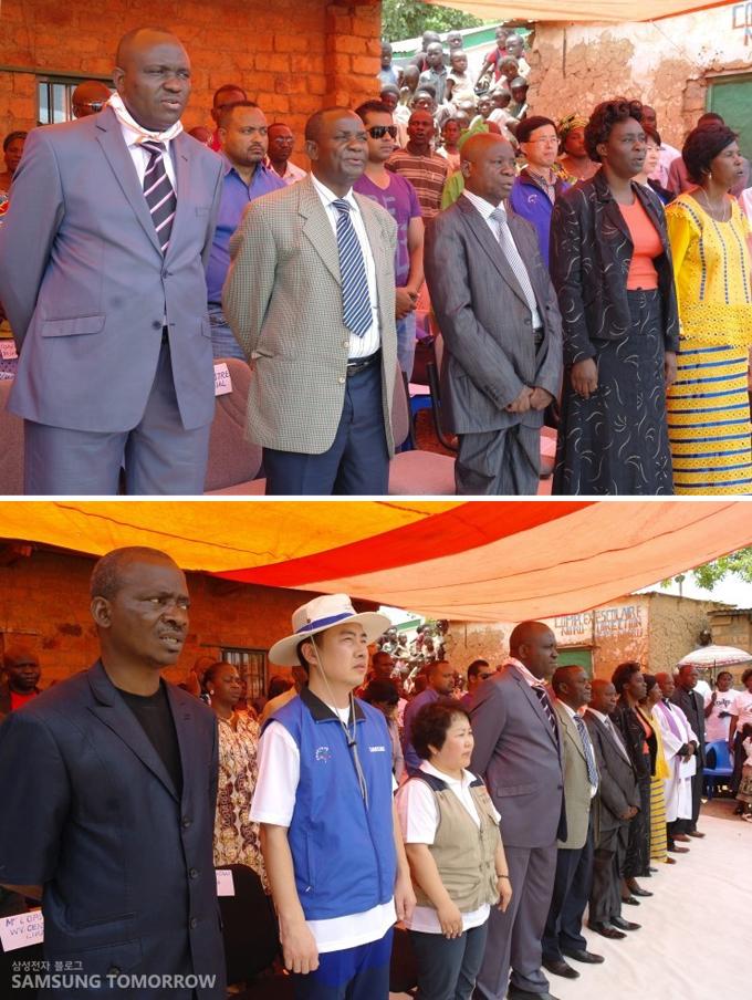 카탕카 주 교육부 장관, 리카시 시장 등 귀빈들이 많이 참석한 학교 준공식 행사 진행
