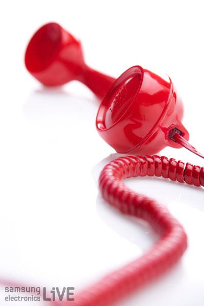 빨간색 전화 수화기 이미지