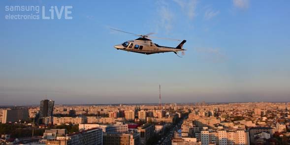 루마니아 수도 부쿠레슈티의 상공에 나타난 헬리콥터