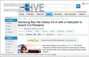 루마니아의 유명 사이트인 phonearena.com소개된 갤럭시S4