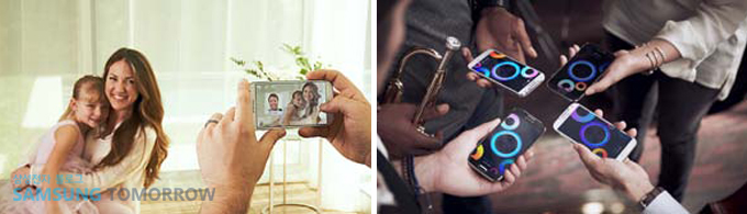 스마트폰으로 사진을 찍고 스마트폰으로 음악을 함께 듣는 이미지입니다.