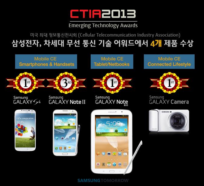 삼성전자 CTIA 어워드 4개 제품 수상 포스터