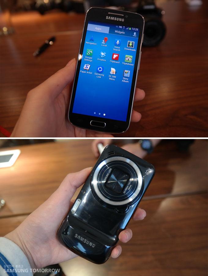 갤럭시S4 Zoom의 이미지입니다. 앞면은 스마트폰 같지만 뒷면은 콤펙트 카메라 같은 모습입니다.