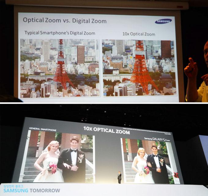 10x optical zoom  갤럭시S4 Zoom의 광학 10배줌을 설명하고 있는 이미지입니다. 일반 스마트폰의 사진과 비교했습니다.