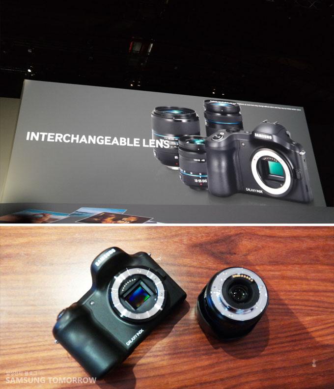 Interchangeable lens 갤럭시NX의 기능 중 렌즈를 자유롭게 교환할 수 있다는 설명을 하고 있는 이미지입니다.
