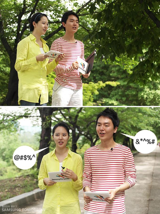 막힘없이 리포팅을 하고 있는 삼성스토리텔러 장민영과 김영도의 모습입니다.