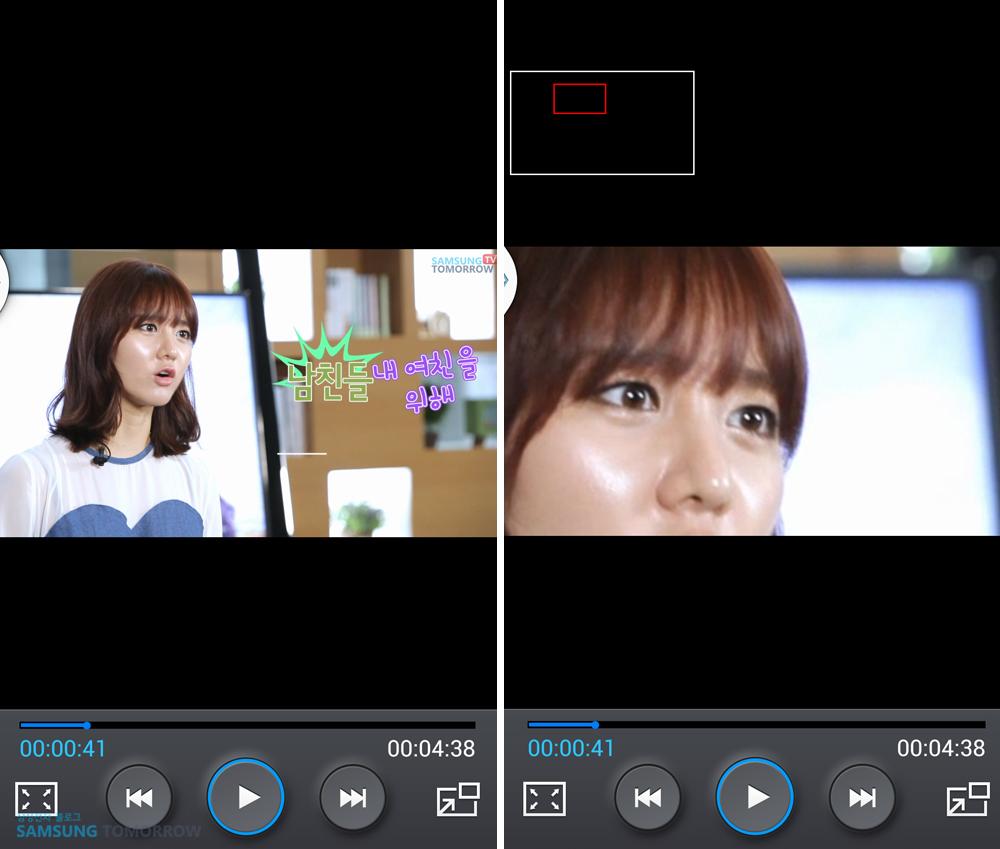 비디오 감상 중 동영상 핀치 투 줌 기능을 이용하는 모습입니다.