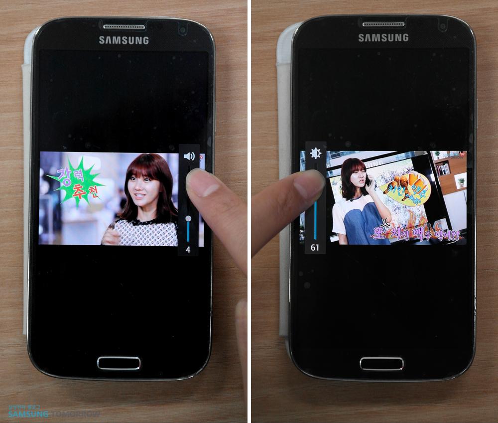 왼쪽 이미지는 영상 재생 중 오른쪽 영역 볼륨 조정을 활용하는 모습이고, 왼쪽 이미지는 왼쪽 영역 밝기 조정을 이용하는 모습입니다.
