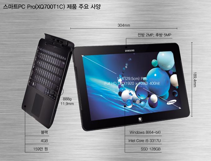 스마트PC Pro 제품 주요사양 블랙, 4GB 159만원, 전방 2MP 후방 5MP 윈도우 8, 인텔 코어 i5, SSD 128GB
