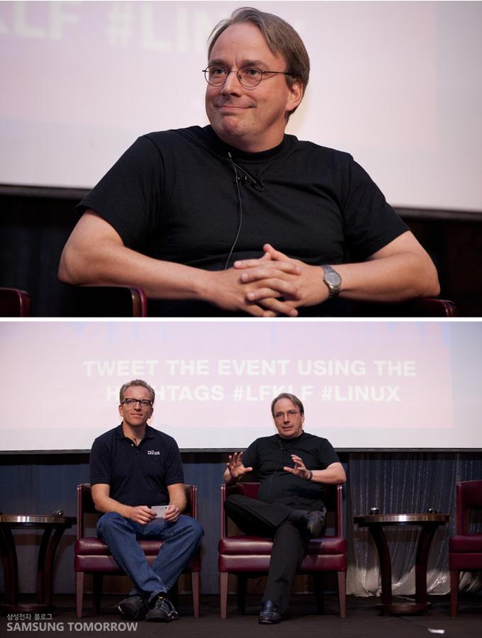 리눅스 창시자 리누스 토발즈와 질의응답 하는 모습