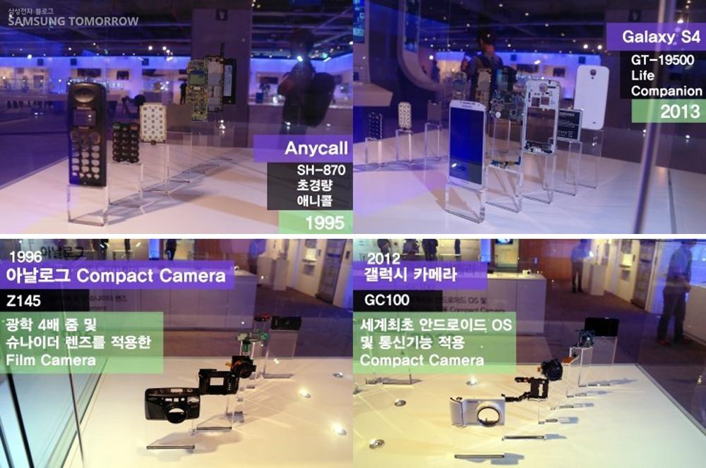 애니콜 SH-870초경량 애니콜 1995. 갤럭시S4 GT-19500 life companion 2013 휴대폰의 비교입니다. 1996 아날로그 콤팩트 카메라 Z145 광학 4배줌 및 슈나이더 렌즈를 적용한 Film Camera 2012 갤럭시 카메라 GC100 세계최초 안드로이드 OS 및 통신 기능 적용 Compact camera. 카메라 발전입니다.
