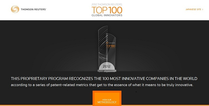 top100innovators, this proprietary program recognizes the 100 most innovative companies in the world according to a series of patent related metrics that get to the essence of what it means to be truly innovative
