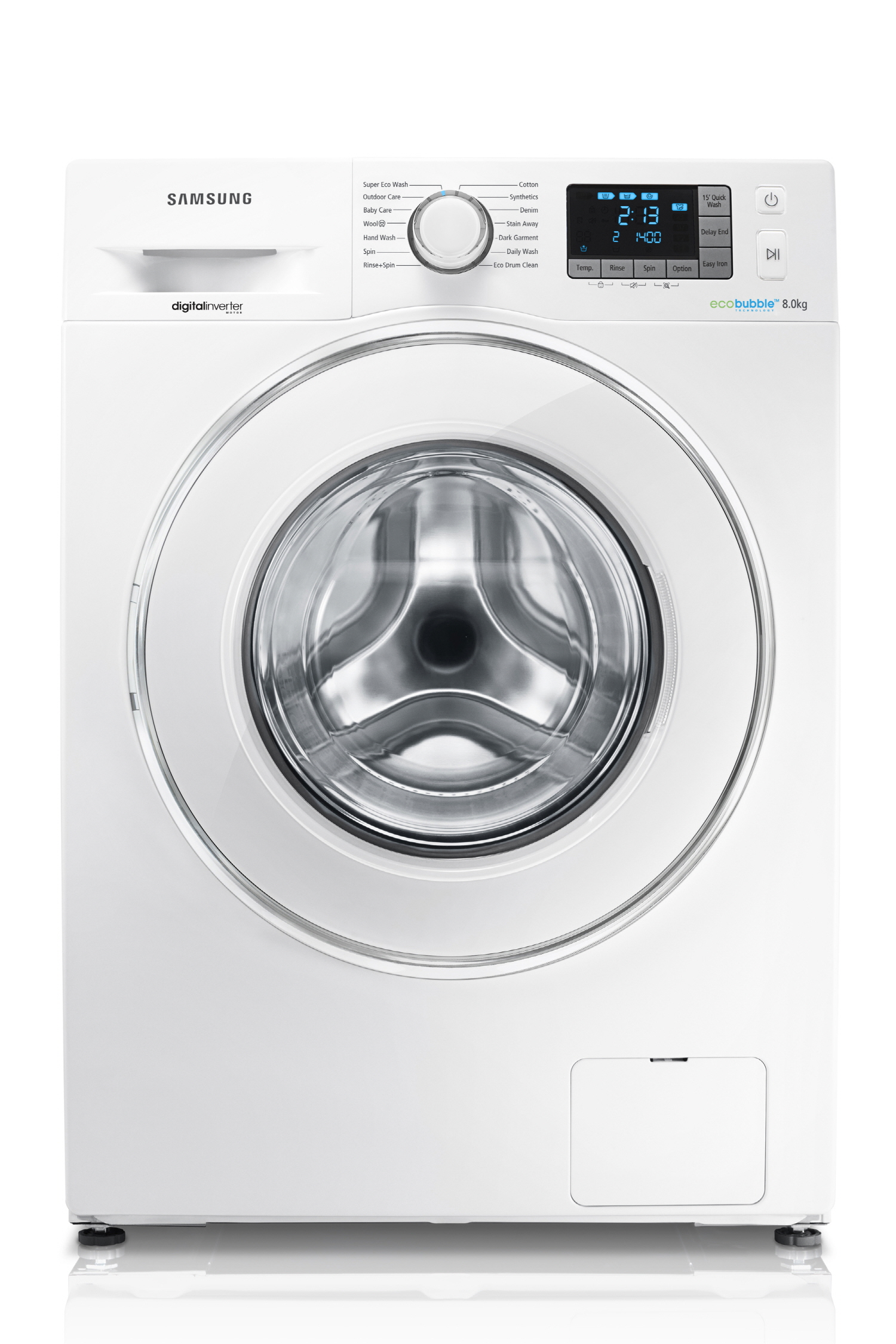 버블드럼세탁기 WF80F5E5U4W 의 정면 모습입니다.