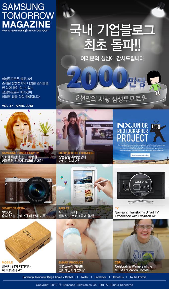 SAMSUNG TOMORROW MAGAZINE www.news.samsung.com/kr 삼성투모로우 블로그에 소개된삼성전자의 다양한 소식들을 한 눈에 확인 할 수 있는 삼성투모로우 매거진이 여러분 곁을 직접 찾아갑니다. VOL 47 - APRIL 2013 국내 기업블로그 최초 돌파!! 여러분의 성원에 감사드립니다 2000만명 2천만의 사랑 삼성투모로우 SAMSUNG TOMORROW TV 100회 특집! 현빈이 사랑한 에볼루션 키트가 윤하의 손에?!! 20,000,000 CELEBRATION 상큼발랄 축하영상에 반전이 있다고? NX JUNIOR PHOTOGRAPHER PROJECT SMART CAMERA NX300, 출시 한 달 만에 7천 대 판매 기록! TABLET 드디어 나왔다 갤럭시 노트 8.0 국내 출시! TV Samsung Transforms Smart TV Experience with Evolution Kit MOBILE 갤럭시 S4의 패키지가 확 바뀌었다고? SMART PRODUCT 젖병소독이 가능한 전자레인지가 있다? CSR Celebrating Winners of the STEM Education Contest