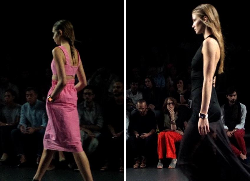 패션 위크 마드리드에서 런웨이를 걷고 있는 모델들입니다.