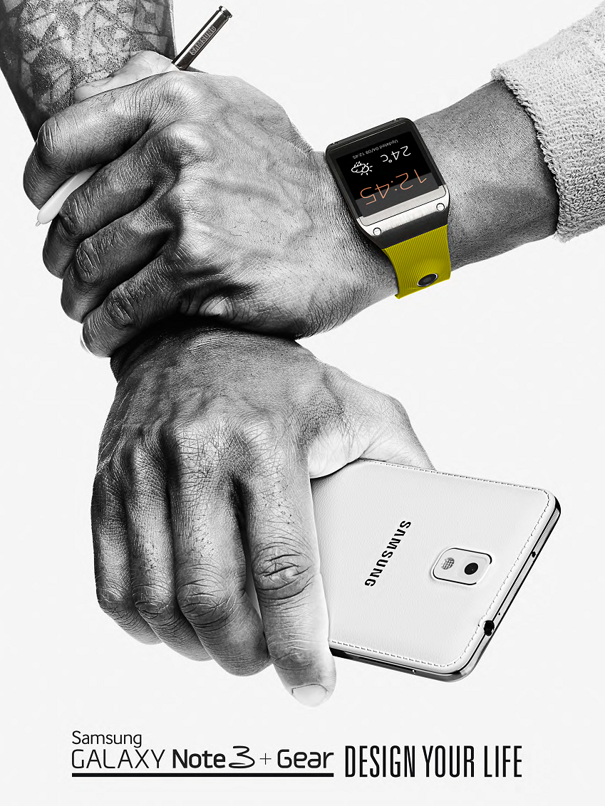 갤럭시 노트 3와 갤럭시 기어를 착용한 키 비주얼 이미지입니다.
