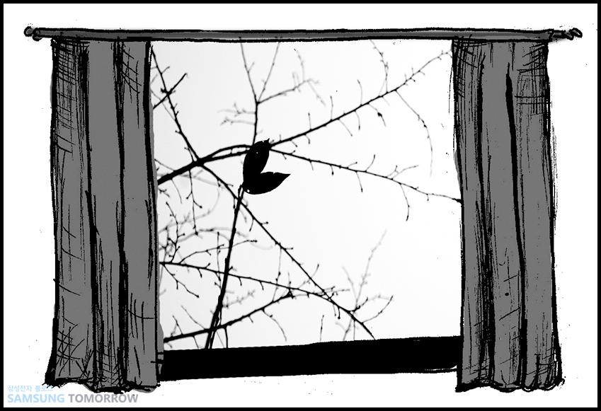 창밖에는 앙상한 나뭇가지의 잎사귀만 바람에 휘날리고 있었습니다.