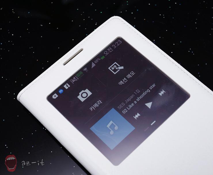 S뷰 커버의 S뷰 창을 통해 갤럭시 노트 3의 기능을 실행한 모습입니다.
