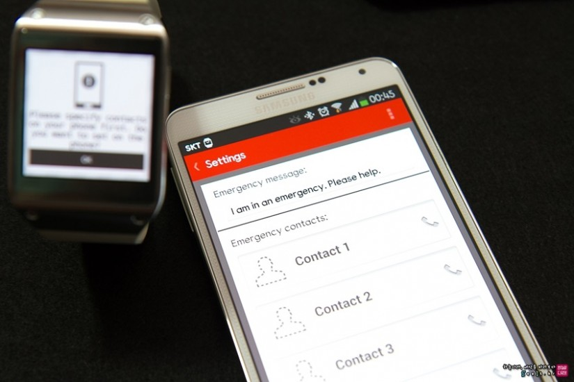 갤럭시 기어 전용 앱 SOS를 갤럭시 노트 3에서 자동 실행되는 이미지입니다.