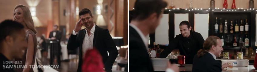 여자친구와 레스토랑에 들어온 로빈의 사진입니다.