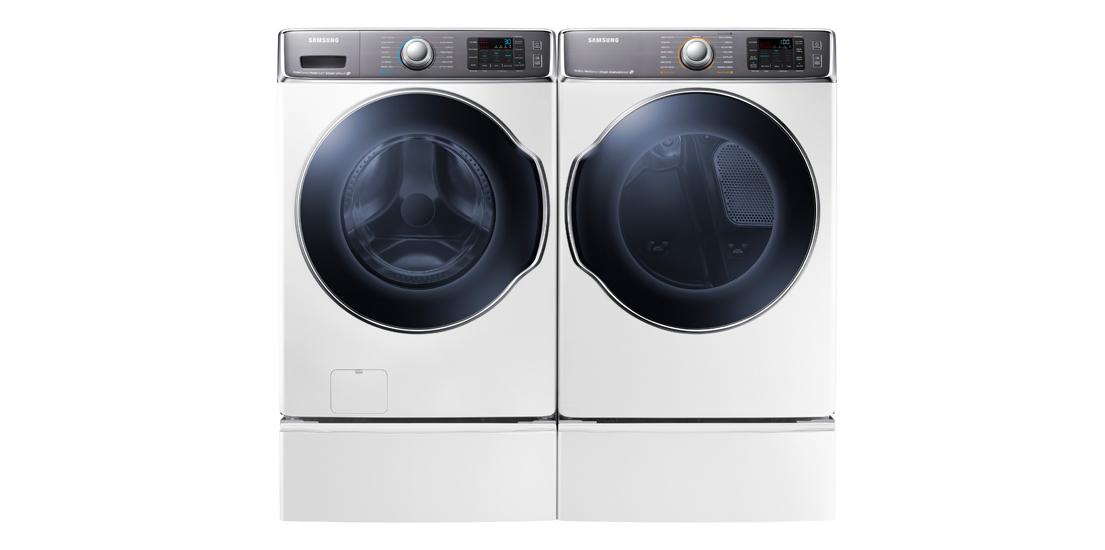 삼성전자가 CES 2014에서 선보일 드럼·전자동 세탁기입니다.