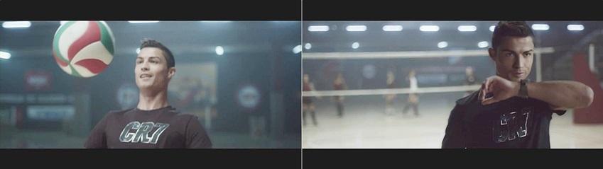 호날두 선수가 배구 시합을 즐기다 갤럭시 기어로 통화를 하고 있습니다.