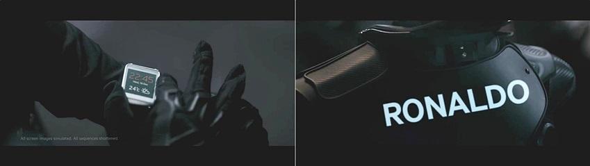 갤럭시11프로젝트 선수가 갤럭시 기어를 착용한 모습과 등뒤에 호날두 로고의 모습입니다.