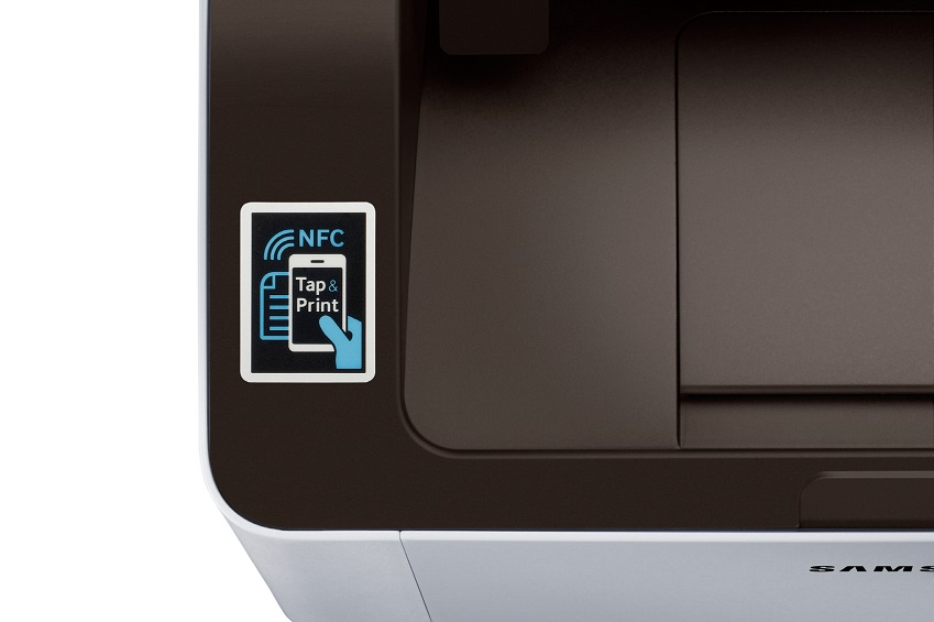 스마트폰 속 컨텐츠를 바로 출력할 수 있는 '스마트프린터 NFC M2022W' 제품 사진입니다.