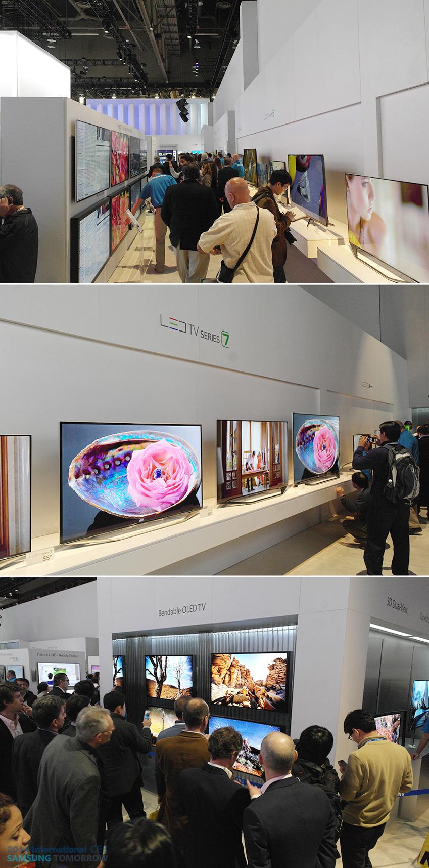 UHD TV, LED TV 시리즈7과 밴더블(Bendable) OLED TV를 구경하는 사람들 사진입니다.