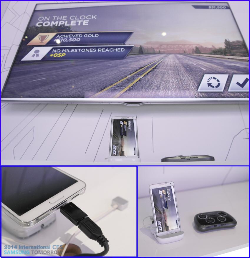 스마트폰과 HV를 HDMI 케이블로 연결한 화면입니다.