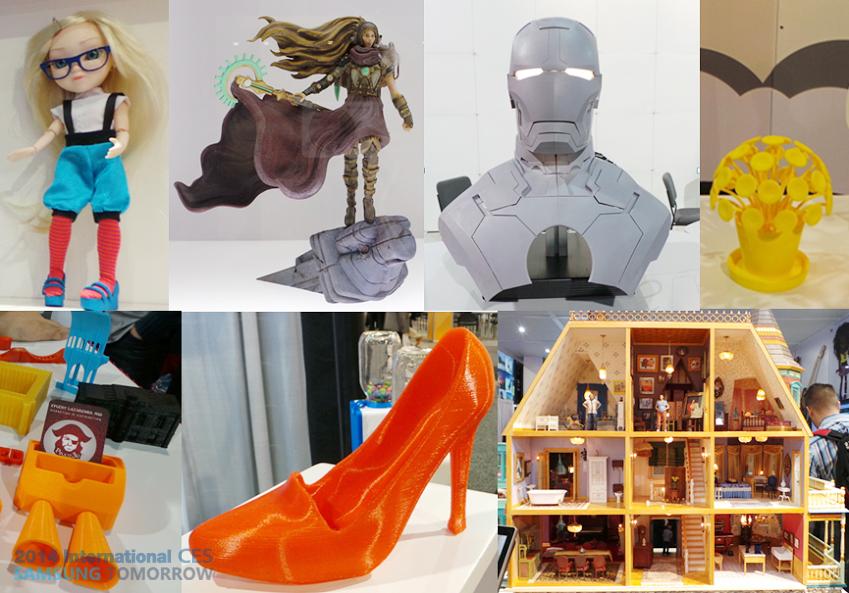 3D 프린터로 만든 다양한 디자인의 제품들입니다.
