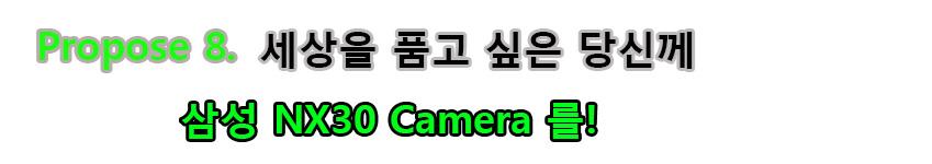 Propose 8. 세상을 품고 싶은 당신께 삼성 NX30 Camera를!