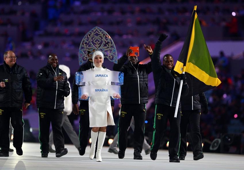 소치올림픽 개막식에 자메이카 선수단이 입장하고 있습니다.
