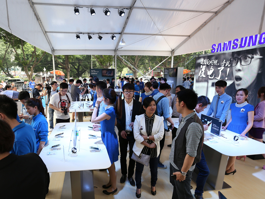 갤럭시 S5 글로벌 론칭 행사 중국 모습입니다.