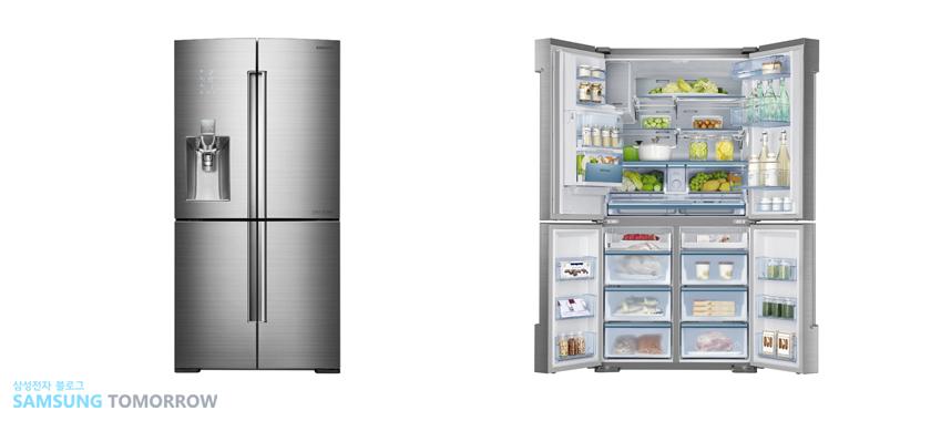 ▲국내 최초 T타입 4Door 냉장고 T9000. 사용 빈도가 높은 냉장실을 위에, 냉동실은 아래 배치해 사용 편의성을 극대화시킨 신개념 냉장고입니다.