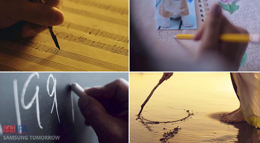 사람의 손으로 악보를 그리고 필기를 하고 칠판에 숫자를 쓰는 등의 노트하는 영상