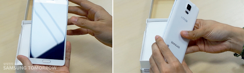 갤럭시노트4의 전면과 후면모습입니다. 5.7인치의 대화면 모습(왼쪽), 깔끔한 뒷면의 모습(오른쪽)
