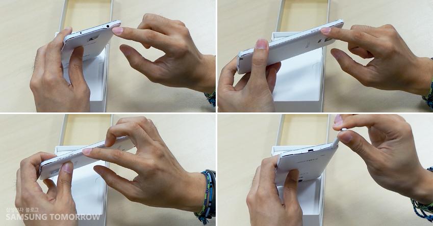 갤럭시 노트의 가장자리 모습입니다. 이어폰 단자부분, 전원부분, S펜 수납 부분, 볼륨키 부분 (상단 좌측부터 시계방향으로)