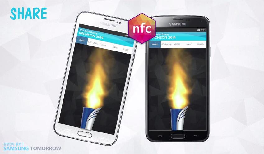 NFC로 성화를 건넬 수 있는 스마트 토치 릴레이 기능은 공유 기능을 단적으로 보여주는 예라 할 수 있습니다.