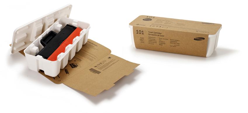 '에그 트레이(Egg Tray)'는 100% 재생용지로 만들어진 친환경적인 프린터 토너 카트리지 패키지입니다.