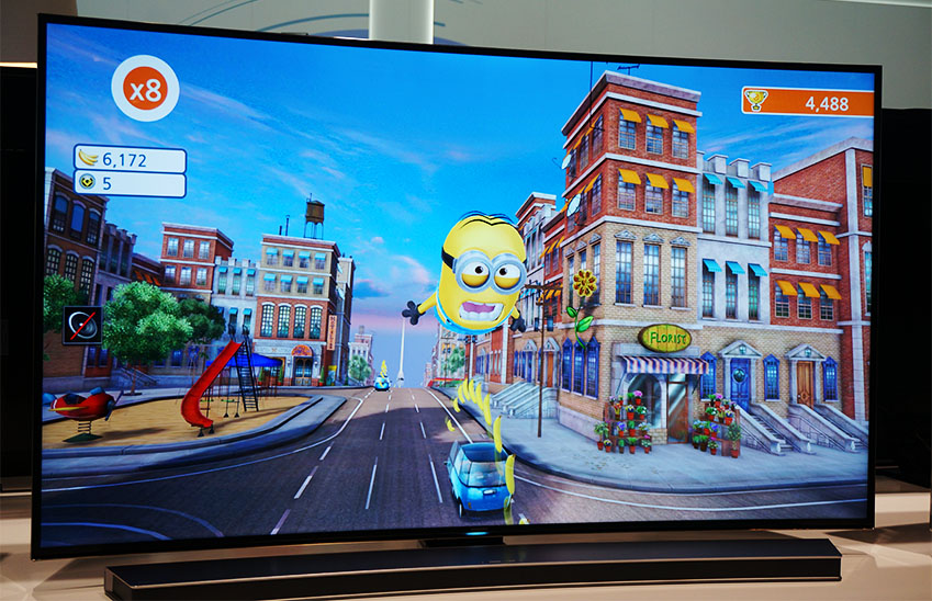 슈퍼배드 게임이 스마트 TV를 통해 시연되고 있습니다.