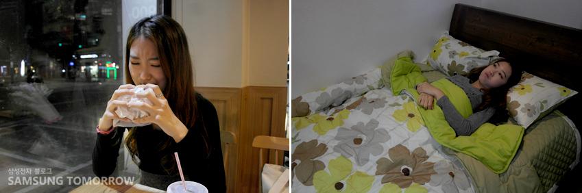 음식을 먹는 한솔 학생의 모습과 침대에 누워 있는 한솔 학생의 모습입니다.