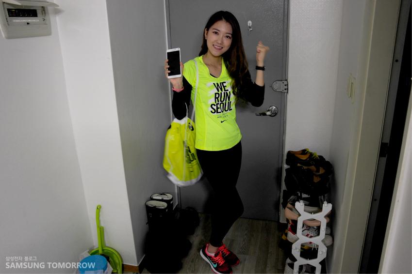 마라톤을 하러 가기 위해 복장을 갖춘 한솔 학생 모습입니다.