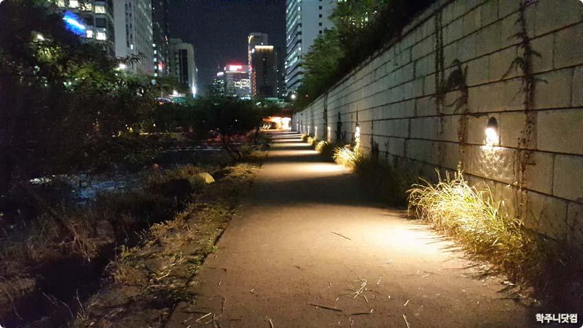 청계천 야경을 촬영한 사진