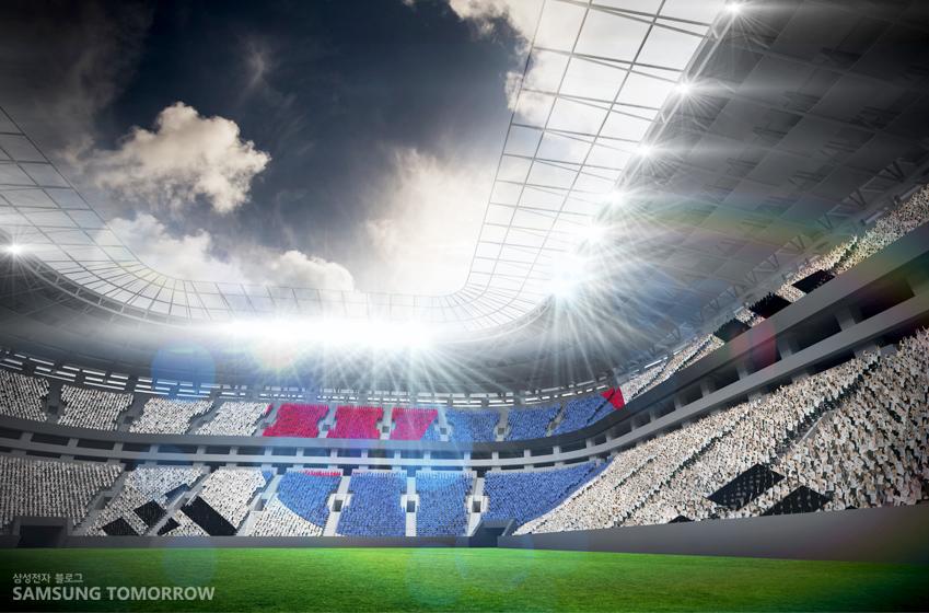 축구 경기장의 관람석을 태극기로 표현한 이미지