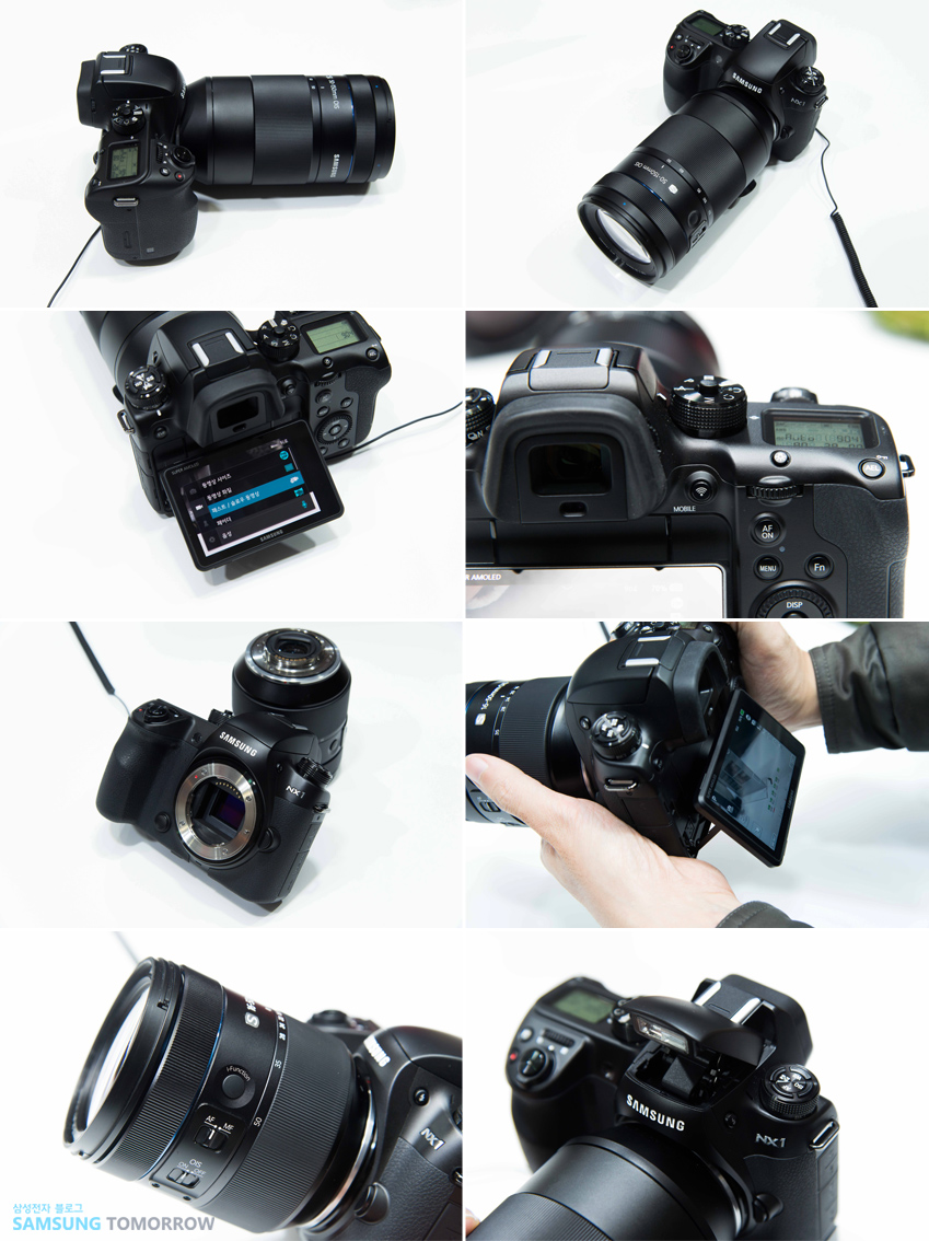 NX1 카메라를 다양한 각도에서 촬영한 사진입니다.