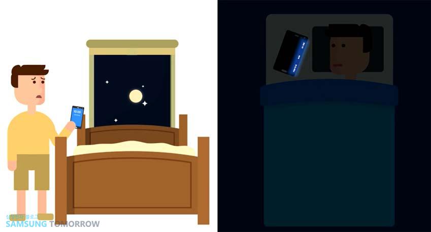 불을 켜고 스마트폰을 찾는 모습(왼쪽) 과 야간 시계 모드가 작동하는 갤럭시 노트 엣지