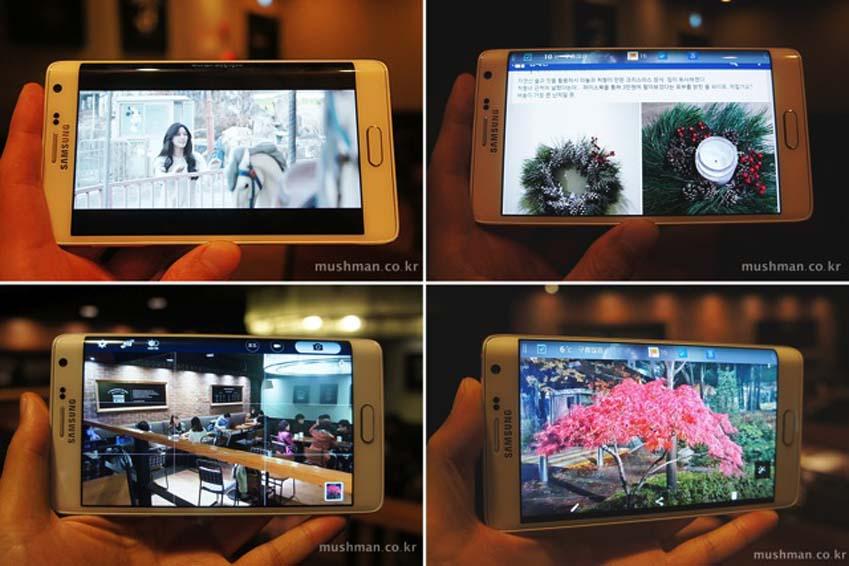 4분할 사진으로 갤럭시 노트4의 고화질 영상, 사진, 카메라, 갤러리(왼쪽부터 시계방향)를 보여줍니다